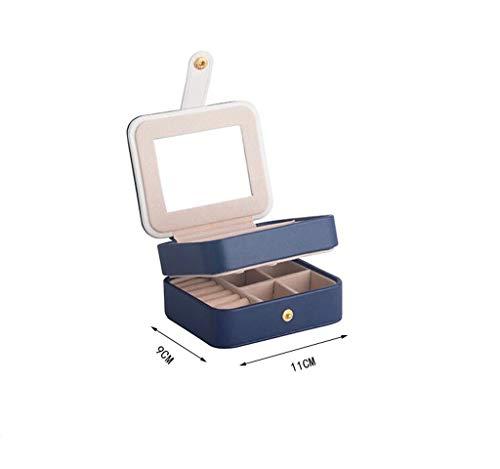 Betty & Co Aufbewahrungsbox aus Leder mit Spiegel, 2 Tier Portable Reisen Schmuck Display Halter, für Ohrringe Halskette Armbänder Ringe (Farbe : Blau)