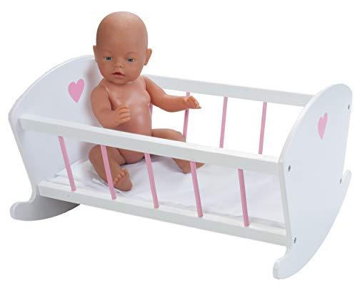 Engelhart - Muebles de Madera para muñecas bebé - Muebles y Accesorios a Juego - Cama, Trona, literas, Cuna, Cambiador, cómoda - Rosa y Blanco (Cuna)