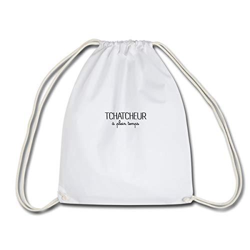 Spreadshirt Tchatcheur à plein temps Sac à dos cordon, blanc