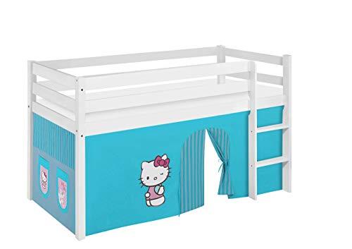 Lilokids Lit Mezzanine JELLE Hello Kitty Turqoise -lit d'enfant Blanc - avec Rideau - lit 90x200 cm