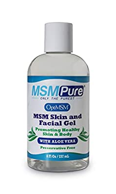 MSMPure Max Strength Skin and Facial MSM Gel with Aloe, 8oz, Preservative Free Formula for Soft, Smooth Healthy Glowing Skin, Softer Hair & Acne Treatment
