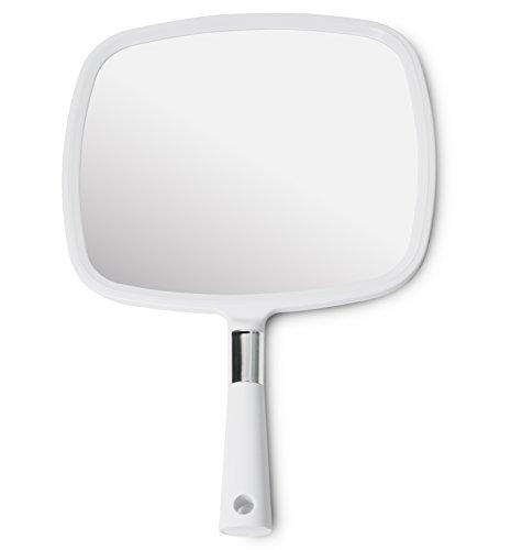Mirrorvana - Specchio a Mano Grande e Comodo, con Manico, Colore: Bianco 1-Pack