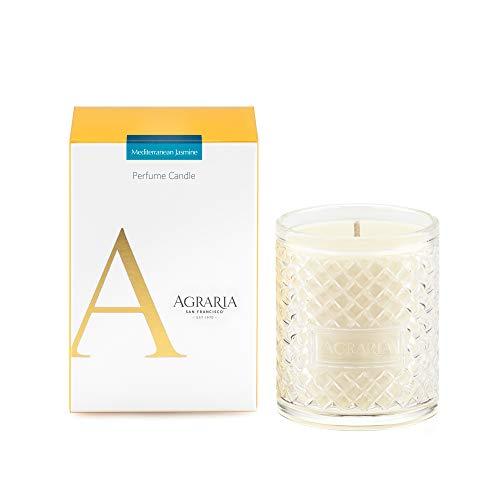AGRARIA Mediterranean Jasmine Scented 7oz Perfume Candle - Premium Soy-Based Wax