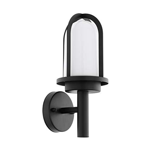 EGLO Außen-Wandlampe Paullo, 1 flammige Außenleuchte, Wandleuchte aus verzinktem Stahl und Glas, Farbe: Schwarz, Fassung: E27, weiß, IP44