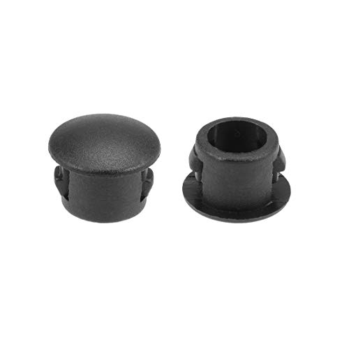 uxcell Hole Plugs Black Plastic 6mm(1/4-inch) Snap in Locking Hole Tube(Fit Hole Diameter:5.5-6mm), Fastener Cover Flush Type Panel Plugs 50 Pcs