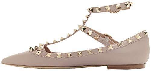 Syneyena Pointed Toe Studded Strappy Leather Flat Sandals
