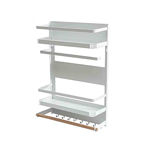 N / B Estante magnético de Especias, Estante magnético Multi-Tier de frigorífico refrigerador Refrigerador, para Cocina, estantes, Pared de despensa, Cuarto de Lavado, baño, Negro