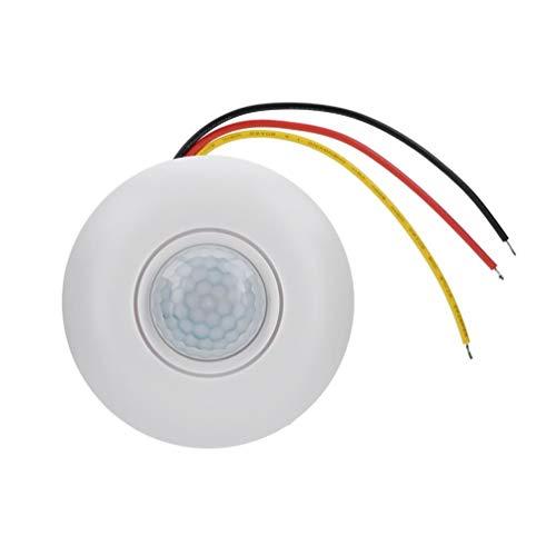 Topiky Interruptor de Sensor de Movimiento PIR infrarrojo de 360 ° de 12V con retardo de Tiempo para pasillos/baños/sótanos/garajes