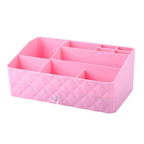 BOX Type de Tiroir Cosmétiques Boîte de Rangement En Plastique Créativité Bureau Lipstick Bijoux Soins de La Peau Produits de Stockage D'Affichage Boîte 30 × 18,5 × 12,5 Cm (Couleur: Violet),Rose