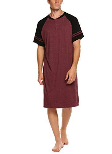 Meaneor Herren Herrennachthemd Sommer Nachthemd Einteiliger Schlafanzug Schlafshirt für Männer Nachtwäsche Schlafkleid Kurzarm Männer Nachthemden Sleepshirt