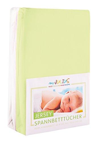 Julius Zöllner Jersey Spannbetttuch Doppelpack für das Kinderbett, Gr. 60x120 / 70x140, grün & weiß
