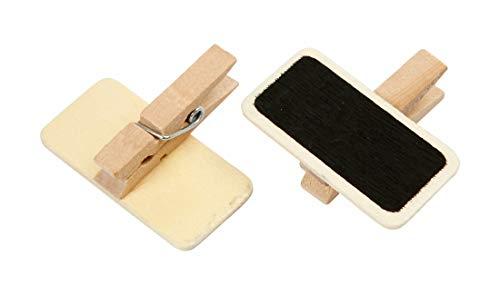 Mini Tafeln aus Holz 4 x 2 cm auf Holzklammer, Inhalt 25 Stück, Wäscheklammer aus Holz mit Minitafel, Preisschild, Geschenkanhänger, Namensschild, Tütenverschluss