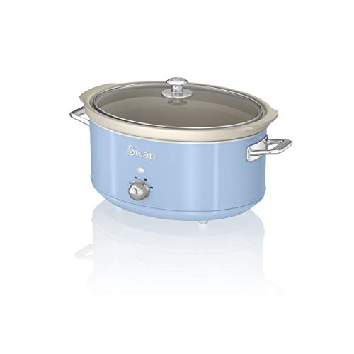 Swan Retro Blue 6.5 Litre Slow Cooker, 3 Temperature Settings, Keep Warm Function, Removable Ceramic Inner Pot, 32 Page Recipe Book, 320 W, SF17031BLN
