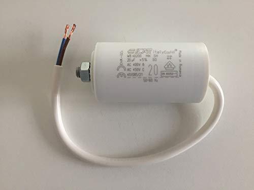 Anlaufkondensator Motor 20µF 450V mit Kabel