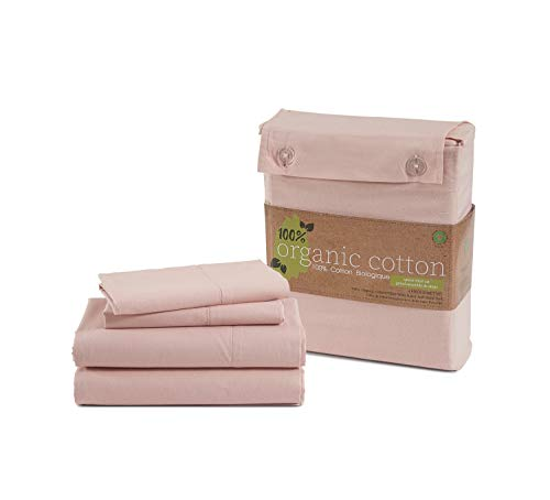 """100% Organic Cotton Rose Queen-Sheets Set, 4-Piece Pure Organic Cotton Long Staple Percale Weave Ultra Soft Best Bedding Sheets for Bed, Breathable, GOTS Certified, Fits Mattress Upto 15"""" Deep"""