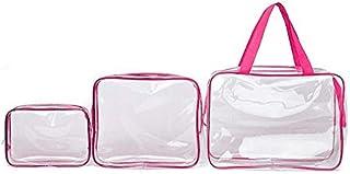 مجموعة مكونة من 3 حقائب مستحضرات تجميل عصرية، حقيبة مستحضرات التجميل شفافة ومقاومة للماء، حقائب اليد يمكن غسلها، حقائب مكي...