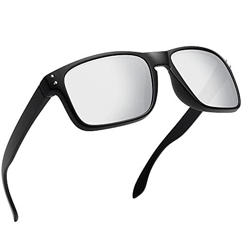 WOWSUN, gafas de sol cuadradas polarizadas para hombre, conducción, ciclismo, pesca, correr, gafas UV400, gafas de sol deportivas para hombres y mujeres (Black Frame Sliver lens)