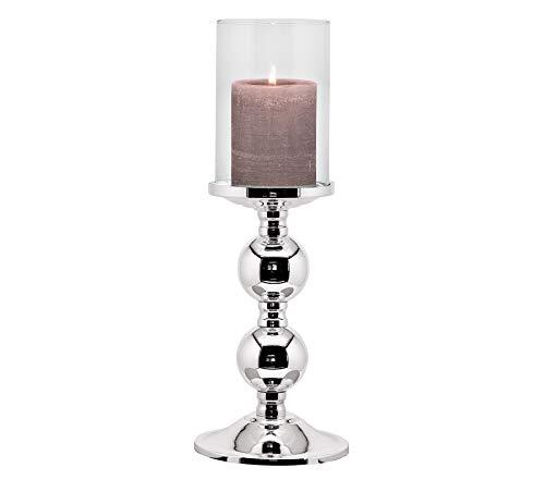EDZARD Kerzenleuchter Bamboo, edel versilbert, anlaufgeschützt, mit Glas, Höhe 34 cm, Durchmesser 11 cm