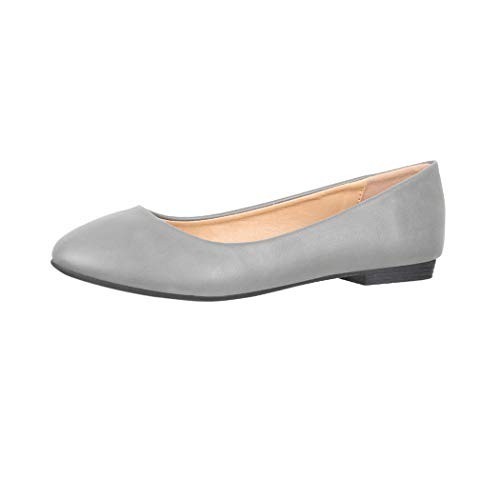 Elara Damen Ballerina Bequeme Slip Ons Flach Chunkyrayan B3039-BL Grey 40