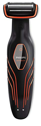 Philips BG2026/32 Bodygroom Plus Series 3000 Depilatore Corpo, Wet&Dry, Standard, Pettini Monodirezionali, Nero/Arancione