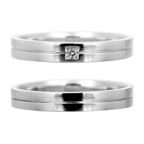 [ココカル]cococaru 結婚指輪 ペアリング プラチナ Pt900 2本セット ダイヤモンド 日本製(レディースサイズ12号 メンズサイズ6号)