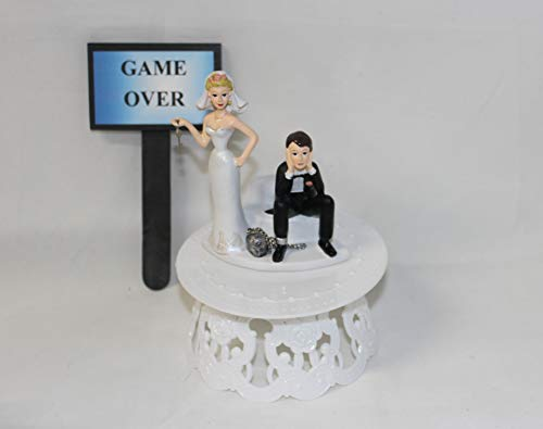 Wedding Party Reception Game Over Sign sassy bride Ball & Chain Cake Topper