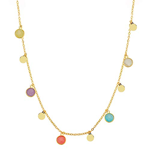 Collar Colgante Mujer niña Chapas Redondas Piedras Colores Plata de Ley 925 Bañado Oro Amarillo Cadena Forzada 45 cm Ajustable