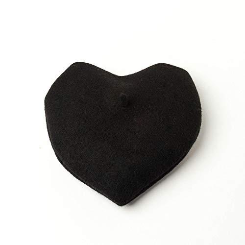 Boinas Gorro Boina En Forma De CorazónBoinas para Mujer Otoño Invierno Boina Color Sólido Sombreros Cálidos Sombrero Gorra De Moda Negro