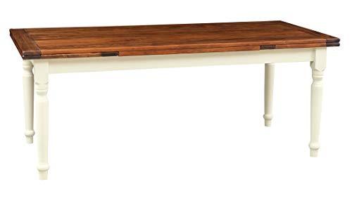 Biscottini Table Extensible en Bois Massif de Tilleul – Style Country – Style Shabby – Structure Blanche vieillie Plan Noyer L 200 x P 90 x H 80 cm