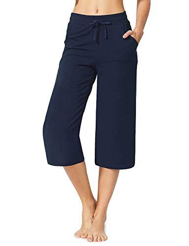 MYIFU Women's Active Yoga Lounge Capri Pants (Dark Blue, S)