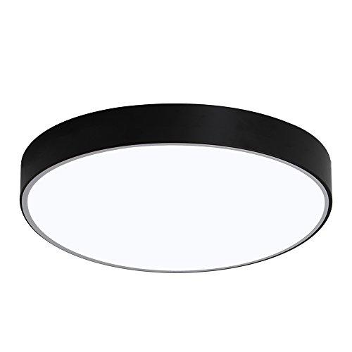 Fscm 36W LED Deckenleuchte Lampe Modern Deckenlampe, Deckenleuchten für Flur Wohnzimmer Schlafzimmer Küche, Schwarz Metal Rahmen Rund 40cm Durchmesser, Kaltweiß(6000-6500K) IP44