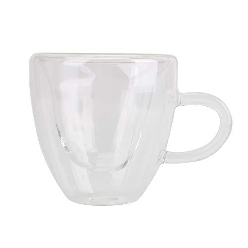 NOPNOG Herzförmiger doppelwandiger Glasbecher, hitzebeständig, Tee- und Kaffeetasse, 180 ml / 240 ml (240ML)