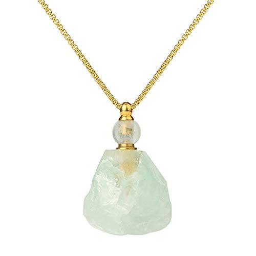 Botella de perfume de cristal collar difusor de aceite esencial colgante piedra natural fluorita irregular quartz collier