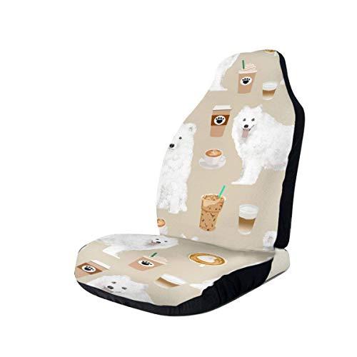 Gjid 2 PCS Samoelke en koffie Leuke hond voorstoelhoezen autostoelhoezen voorstoelen alleen Universal Fit SUV & Truck