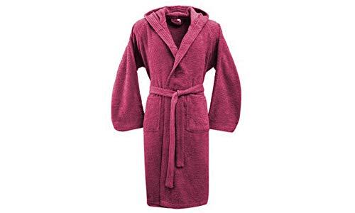 Bassetti Albornoz hombre mujer con capucha talla S – M – L – XL – XXL – 3XL – 4XL – 5XL – rizo de puro algodón 360 g/m² morado M