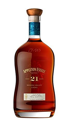 Appleton Estate Rum Giamaicano Invecchiato 21 Anni con Note Fruttate, Quercia e Cacao, 43% Vol, Bottiglia in Vetro da 70 cl