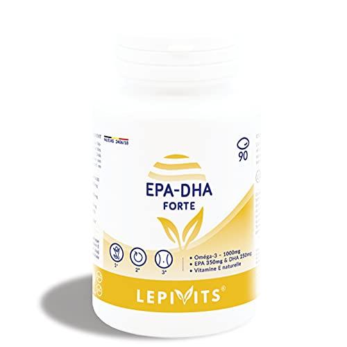 LEPPIN EPA-DHA Plus 1000 mg 90 cápsulas - Concentrado de aceite de pescado Omega 3 + Vitamina E - Certificado sin metales pesados - Suplementos alimenticios naturales