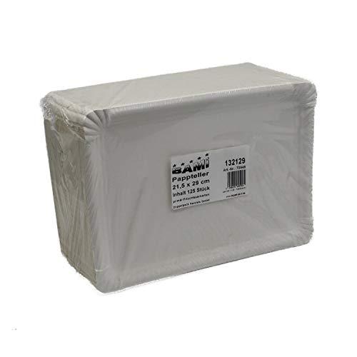 BAMI 125 Stück Pappteller Einwegteller eckig, weiß 21,5x29 cm für Grillfest, Geburtstag oder Party, biologisch abbaubare Pappe