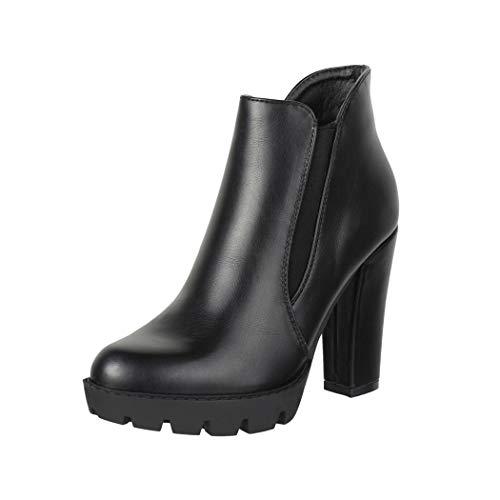 Elara Damen Stiefelette Ankle Boots Schwarz Chunkyrayan QQ-18 Black-38