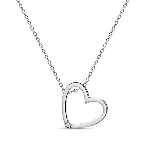 Miore Damen-Halskette mit Herz-Anhänger - Elegante Kette aus 9 kt. Weißgold mit 0,01 ct. Diamant - Halsschmuck 45 cm lang