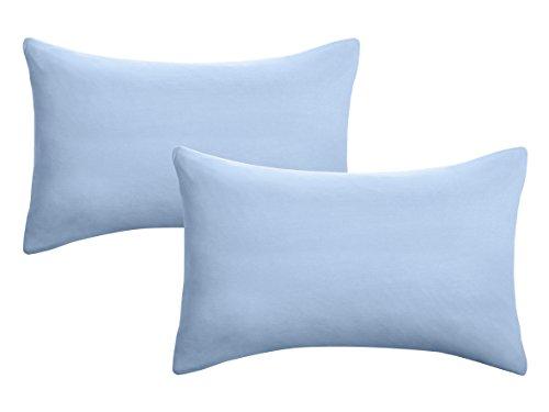 biberna 0077144 Kopfkissenbezug Feinjersey, gekämmte Baumwolle, superweich 2x 40x60 cm eisblau