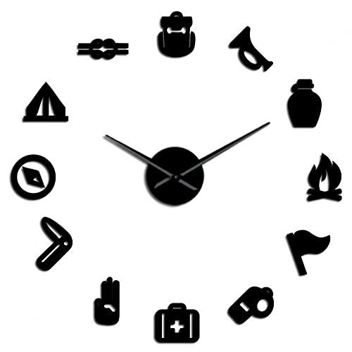 YQMJLF Reloj Pared DIY 3D Grande Camping Scouting DIY Reloj Pared silencioso Gigante silencioso Junior Kids Scout Big Time Reloj Pared Efecto Espejo Decoración Decor Navidad Regalo Negro