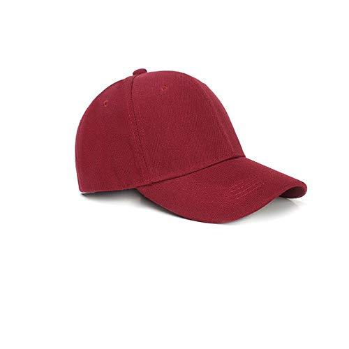 Gorra de béisbol de Color sólido con Visera Curva para Hombre y Mujer-Wine Red-Adjustable