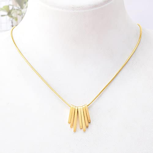 Focisa Collar Colgante Cadena Collares Hombre Mujer Collar Barra Vertical Colgante Collar Irregular Cuadrado Geométrico Collar Cool Simple Joyas Dorado