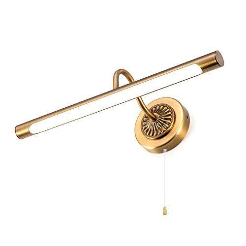 ACMHNC Lampada Da Specchio Bagno Vintage Con Interruttore Tirante, LED Lampada Da Bagno IP44 LucePerTrucco Per Tavolo Armadio 4000K Lampada Da Parete Interni Retrò Girevole 240 °,Brown bronze/55cm