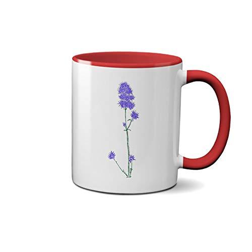 Agastache Blue Fortune Rugosa Blue Fortune hand draw art Weiße Tasse Roter Griff Cup Keramik Geschenk-Kaffee-Tee