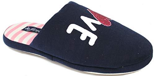 de fonseca Ciabatte Pantofole Cotone Donna MOD. Roma Top E W753 Blu (Numeric_38)