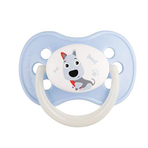 Canpol babies Baby Kirschform Schnuller Silikon Animals (Blau, 0-6 Monate)