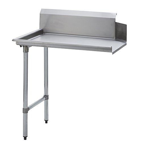 """Fenix Sol Stainless Steel Commercial Kitchen Clean Dish Table, Left Side, 30""""W x 60""""L x 44""""H, Galvanized Legs and Bracing"""