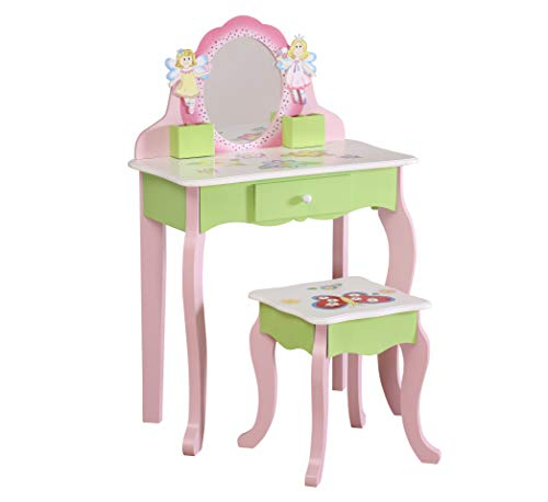 YFDZONE Wooden Vanity Table and Stool Set Kids Vanity Set with Mirror Children Dressing Table Makeup Table with Mirror and Chair for Girl(Pink)